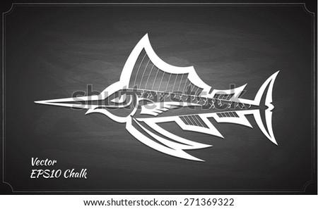 fish cartoon style chalk painted on chalkboard vector illustration - stock vector
