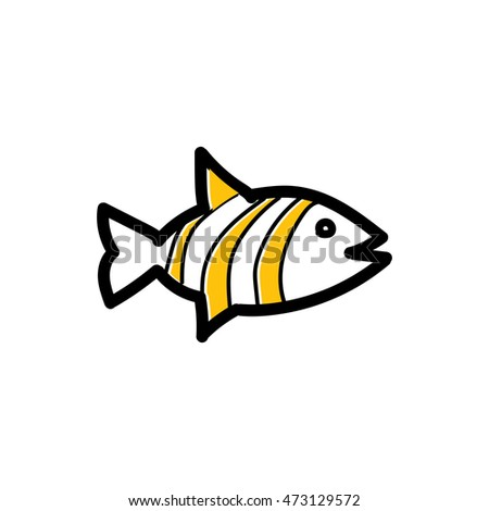 Fish colored freehand drawn doodle cartoon