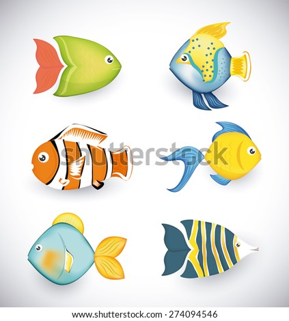 Fish design over white background, vector illustration. - stock vector