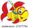 Fish diver - stock vector