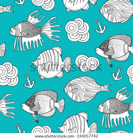 Fish doodle seamless pattern. Surface decoration.Vector illustration. Cloth design, wallpaper, wrapping.