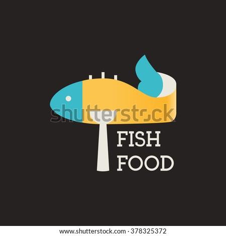 Fish food. Restaurant logo. Fish food restaurant. Vector Logo Template. - stock vector