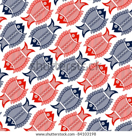 fish geometric pattern in red and blue colors - stock vector