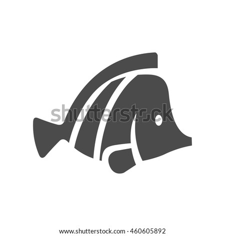 Fish icon in black and white grey single color. Sea creature animal cute pets - stock vector