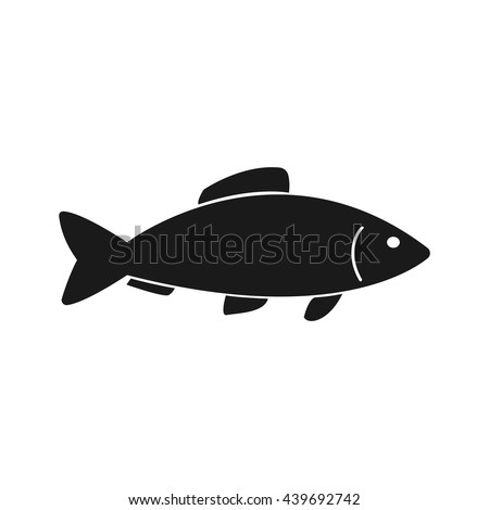 Fish icon Vector. Flat icon Fish. Flat vector illustration for web banner, web and mobile. Vector Fish icon graphic. Vector icon isolated on white background. Fish vector icon in black.