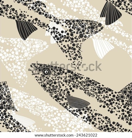 Fish in a seamless dot pattern, vector background. - stock vector