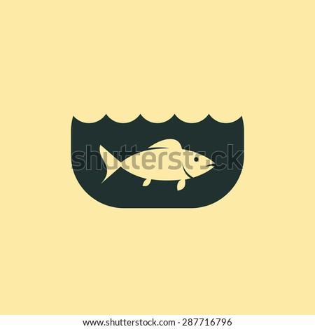 Fish in an aquarium icon - stock vector