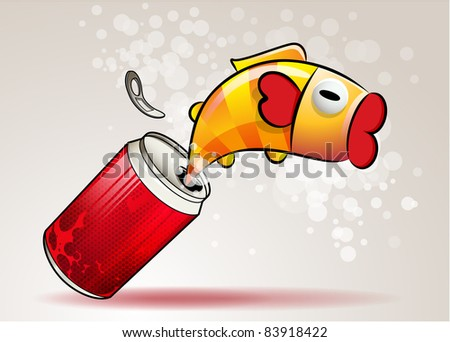 Fish in cola can, vector illustration
