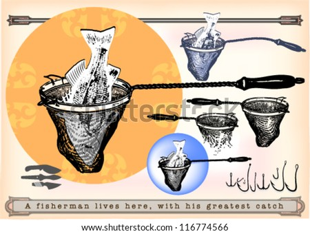Fish in the fish-net with handle with set of hooks and knives - stock vector