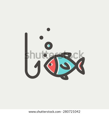 Fish is looking on a fish hook icon thin line for web and mobile, modern minimalistic flat design. Vector icon with dark grey outline and offset colour on light grey background. - stock vector