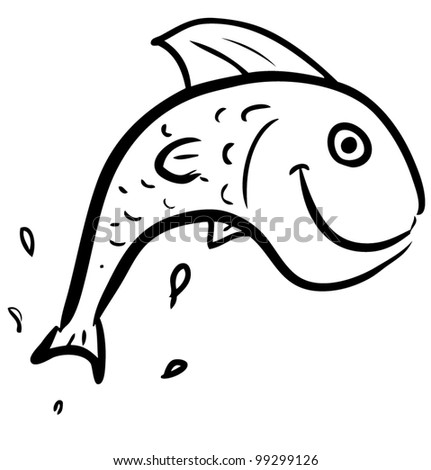 Fish jumping smiling character. Hand drawing sketch vector illustration - stock vector