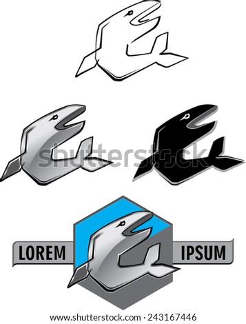 fish label design - stock vector