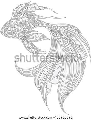Fish,line - stock vector