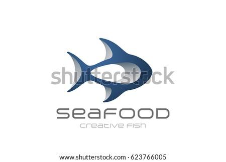fish logo 3d abstract design vector template seafood restaurant menu store shop logotype