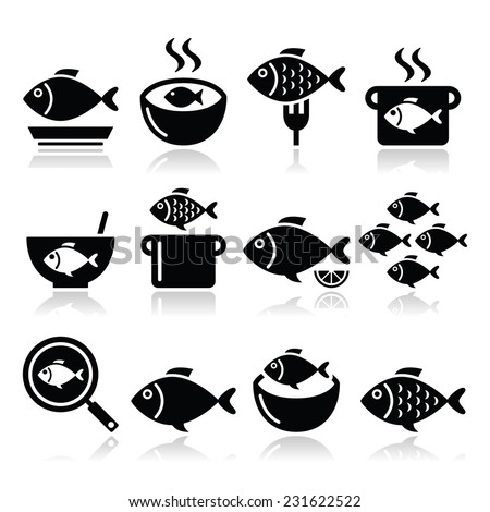 Fish meals icons - soup, chowder, goulash, fried fish  - stock vector