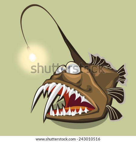 fish monkfish, deep water angler, scary sea devil, vector illustration - stock vector