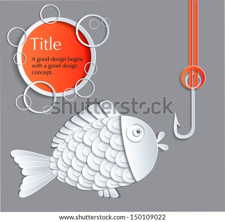 Fish on the hook ideas for business and design. - stock vector
