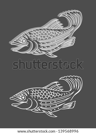 Fish Relief. 3 dimension effect fish relief vector with original image.  - stock vector