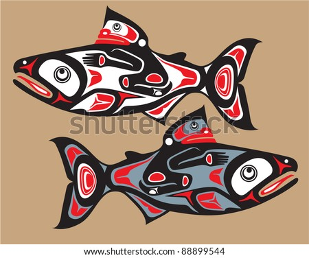 Fish - Salmon - Native American Style Vector - stock vector