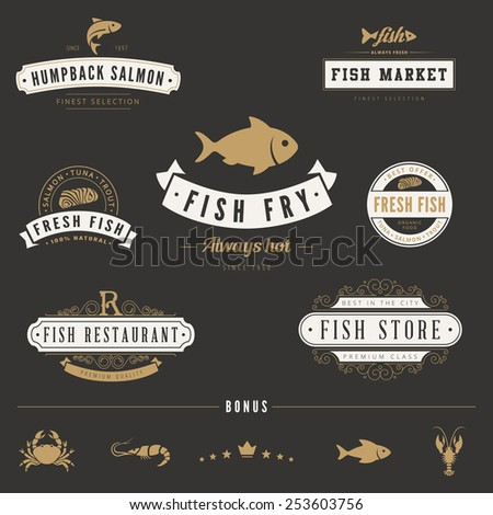 Fish Seafood Retro Vintage Labels Logo design vector typography lettering templates.  Old style elements, business signs, logos, label, badges, stamps and symbols. - stock vector