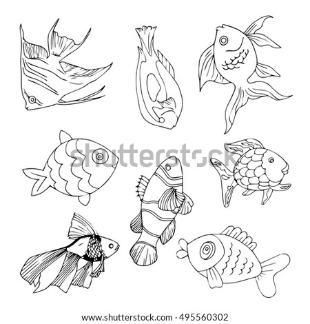 Fish set. Fish vector. Fish illustration. Fish cartoon. Fish ocean. Fish collection. Fish art. Fish sea. Fish drawn. Fish nature. Fish design. Fish cute. Fish elements. Fish abstract. Fish objects.