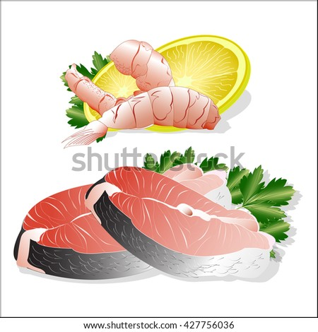 fish set, shrimps and salmon. Vector illustration.