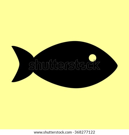 Fish sign. Flat style icon vector illustration.
