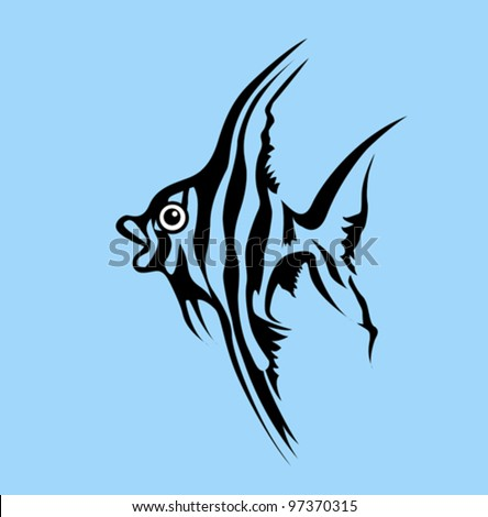 fish silhouette on blue background, vector illustration