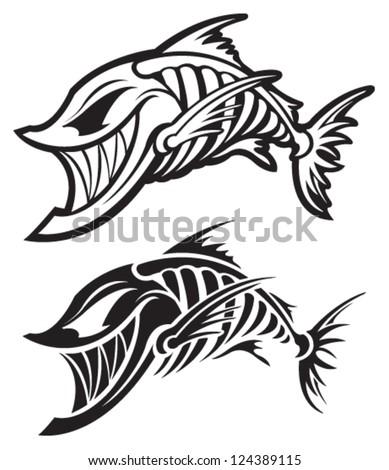 fish skeleton stock vector 124389115 shutterstock rh shutterstock com  red fish skeleton logo