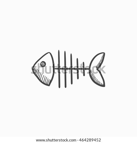 Fish Skeleton Vector Sketch Icon Isolated On Background Hand Drawn