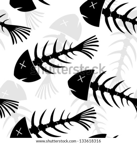 Fish skeletons seamless vector wallpaper
