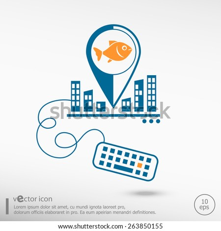 Fish Symbol Keyboard Line Icons Application Stock Vector 263850155