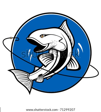 Fish symbol isolated on white - also as emblem. Jpeg version also available in gallery - stock vector