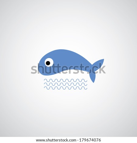 Fish symbol on gray background  - stock vector