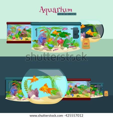 Fish tank, aquarium with water, animals, algae, corals, equipment - stock vector