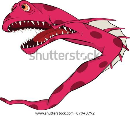Fish the eel. Coral small fish. Cartoon - stock vector