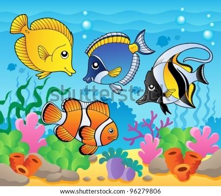 Fish theme image 3 - vector illustration. - stock vector