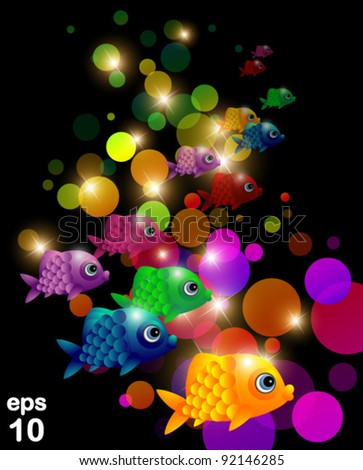 Fish with bubbles, vector - stock vector