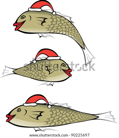 Fish with red lips wearing the Christmas cap - stock vector