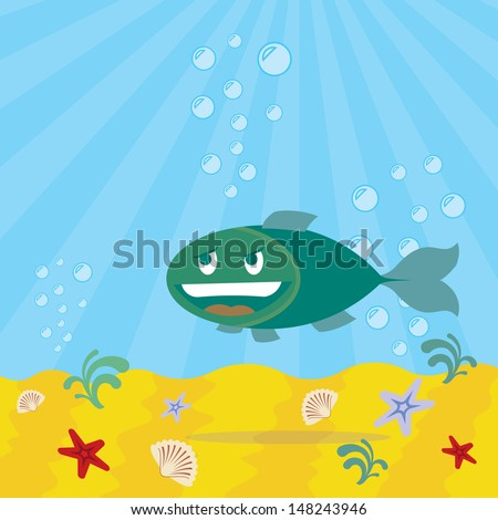 fish with smiling face, underwater background  - stock vector