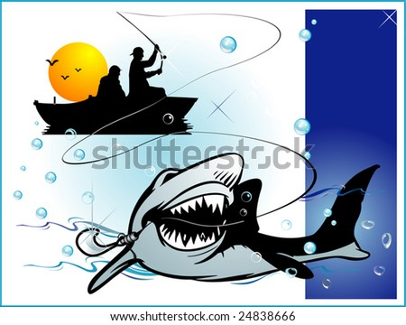 Fisherman,abstract vector illustration - stock vector
