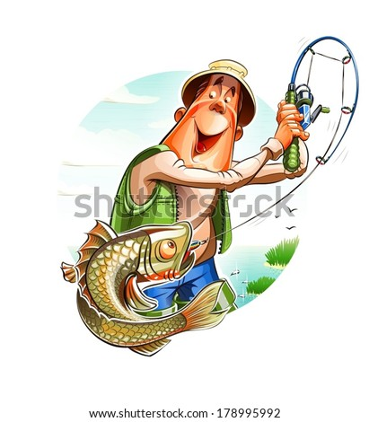 Fisherman and fish. Eps10 vector illustration. Isolated on white background - stock vector