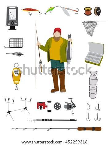 Fisherman and fishing tackle flat icon set Fishing rod, bait, lure, net and other gear and equipment abstract vector illustration - stock vector