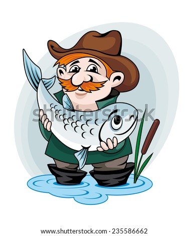 Fisherman catch big fish. Vector illustration in cartoon style - stock vector