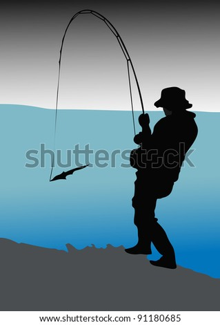 Fisherman catches of salmon (pink salmon) on the river mouth. - stock vector