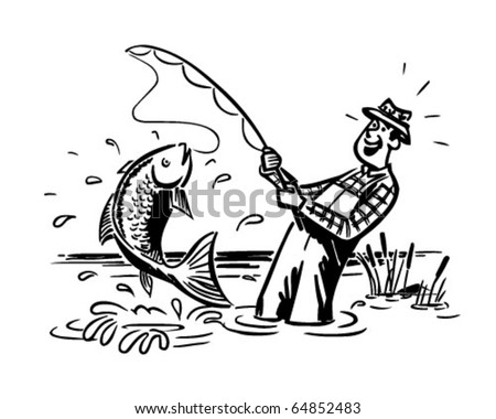 Fisherman Catching The Big One - Retro Clipart Illustration - stock vector