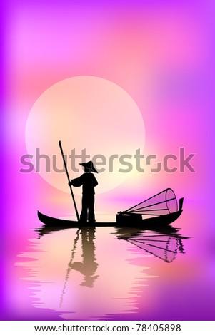 Fisherman in a boat - stock vector
