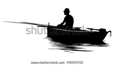 Fisherman in a boat silhouette