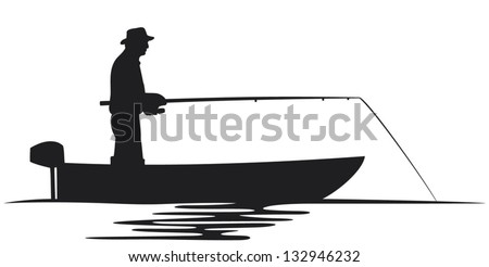 fisherman in a boat silhouette (fisherman silhouette, fishing design, fishermen in a boat fishing) - stock vector