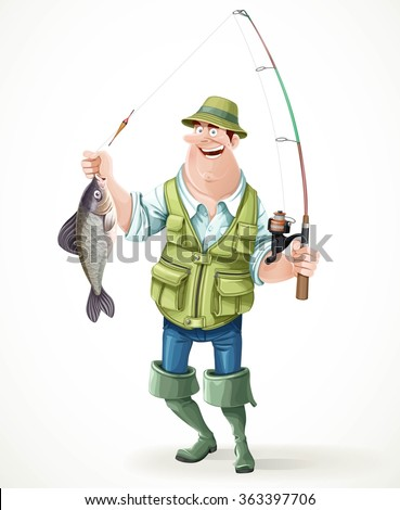 Fisherman in rubber boots with a caught fish and a fishing rod isolated on white background